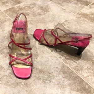 Stuart Weitzman patent leather strappy sandals 8AA